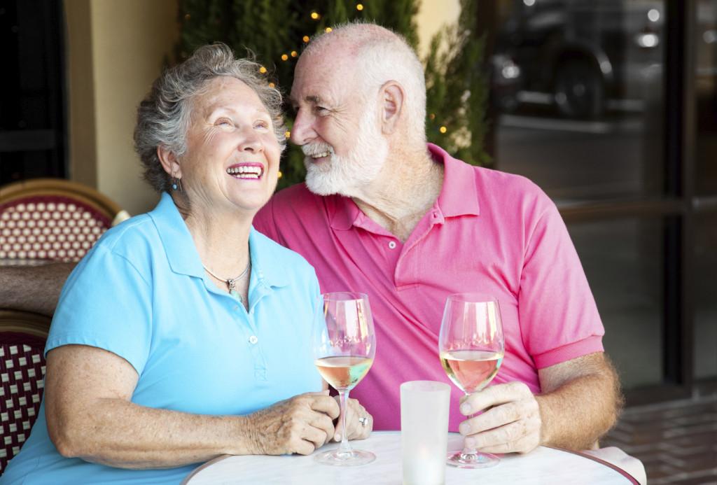 Senior Couple - Wine and Conversation